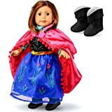 "Oct17 Fits Compatible with American Girl 18"" Princess Dress 18 Inch Doll Clothes Accessories Costume Outfit Set with Boots"