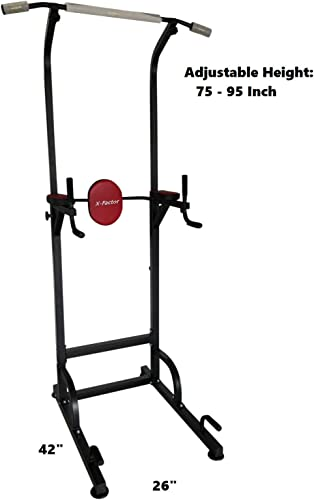 X-Factor Pull Up Power Tower Station Pro. Super Heavy Duty 600 lbs Capacity Dip Chin Up Station w 4 Suction Cups Stabilizer Adjustable Height Weight 65 Lb Thick Steel