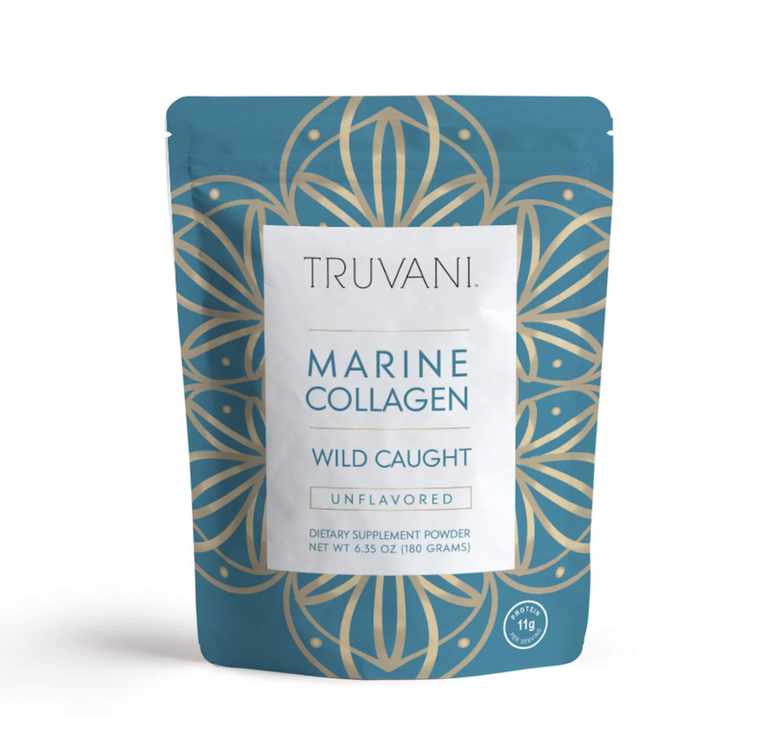TRUVANI - Wild Caught Hydrolyzed Marine Collagen Protein Powder - Collagen Protein Supplement with Type 1,2 & 3   Anti-Aging, Non-GMO, Mercury Free, Gluten Free Fish Collagen   6.35 OZ  
