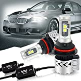 9007 HB5 LED Headlight Bulb Hi/Lo Beam All-in-One Conversion Kit Anti Flicker Error Free Canbus Decoder - 12000LM LUXEON MZ/XHP50 Chip Led Fog Lights Ford Ranger Mustang Dodge Ram 1500 Cummins Durango