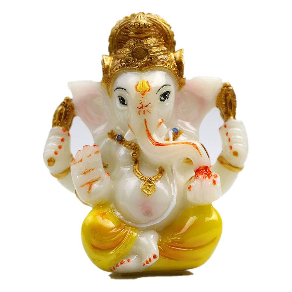 "Hindu God Lord Ganesha Idol Statue for Car Dashboard 3.5""H Ganesh Statue for Yoga Meditation Decoration Indian Elephant Buddha Figurine Ganesha for Puja items and Diwali Hindu Gods Made in India"