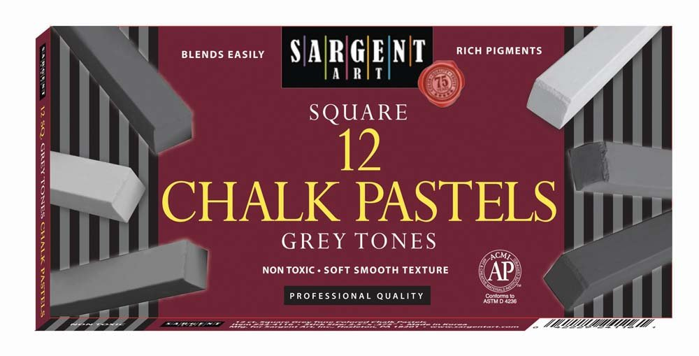 Sargent Art 22-4116-12-Count Gray Tone Square Pastels
