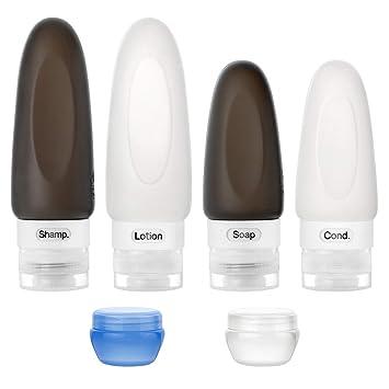 Amazon.com: Juego de botellas de viaje de silicona a prueba ...