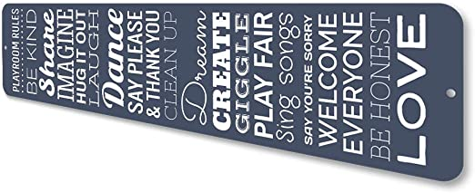 Playroom Rules Vertical Sign Aluminum Personalized Dream Love Share Imagine