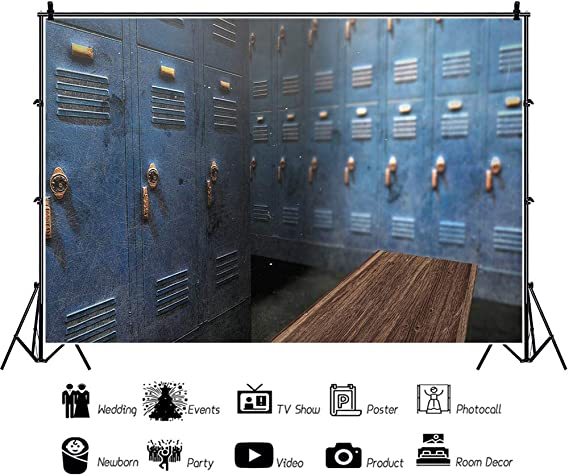 YEELE Old School Locker Room Backdrop 12x8ft Back to School Theme Photography Background Dressing Room in High School Students Teammate Gathering Photo Studio Props Digital Wallpaper