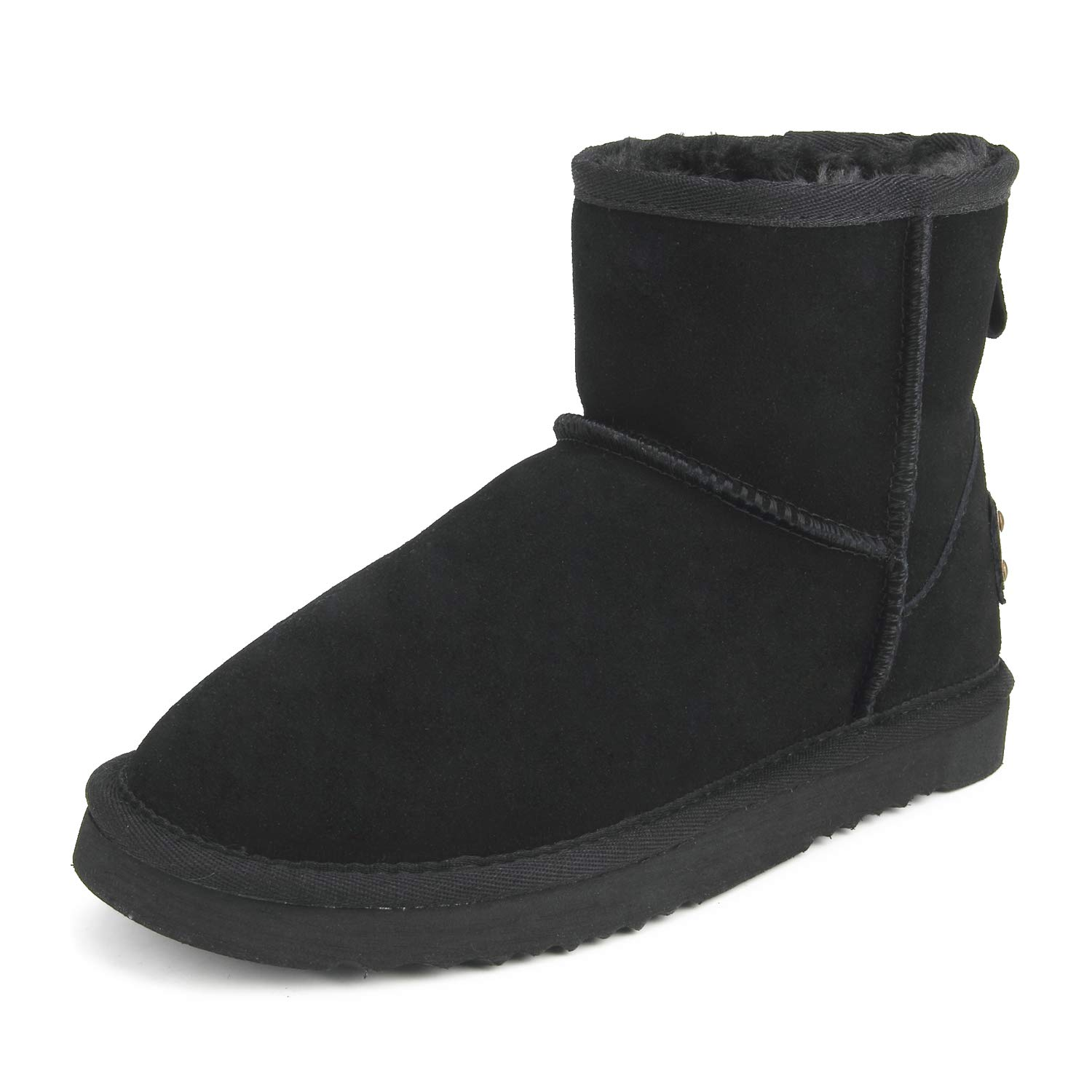 Black(f54) Ausland--Women's Half Snow Boots, with Water-Resistant Vamp, Thick Fur Lining and Lightweight Rubber Sole