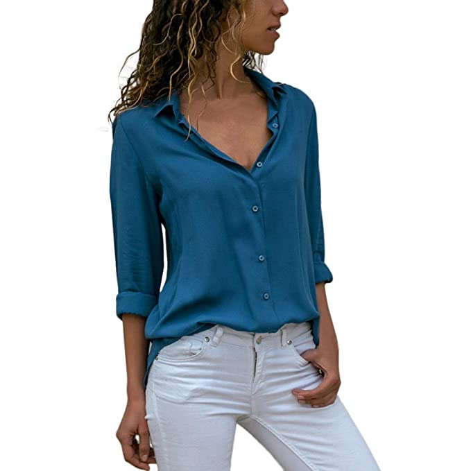 36b2d66e6f2268 Damen Bluse ♥ Xiantime Damen Bluse Elegant Chiffon V-Ausschnitt Langarm  Casual Oberteil Lose Langarmshirt V-Ausschnitt Vintage Tunika Hemd T-Shirt  S-XL  ...