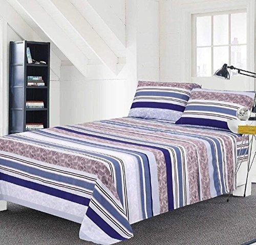Bed Sheet Set 4-Piece,Brushed Microfiber 1500 Bedding.,Extra Deep Pocket(18In), Fitted Sheet, Flat Sheet & 2 Pillowcase (Full, Purple/Blue)