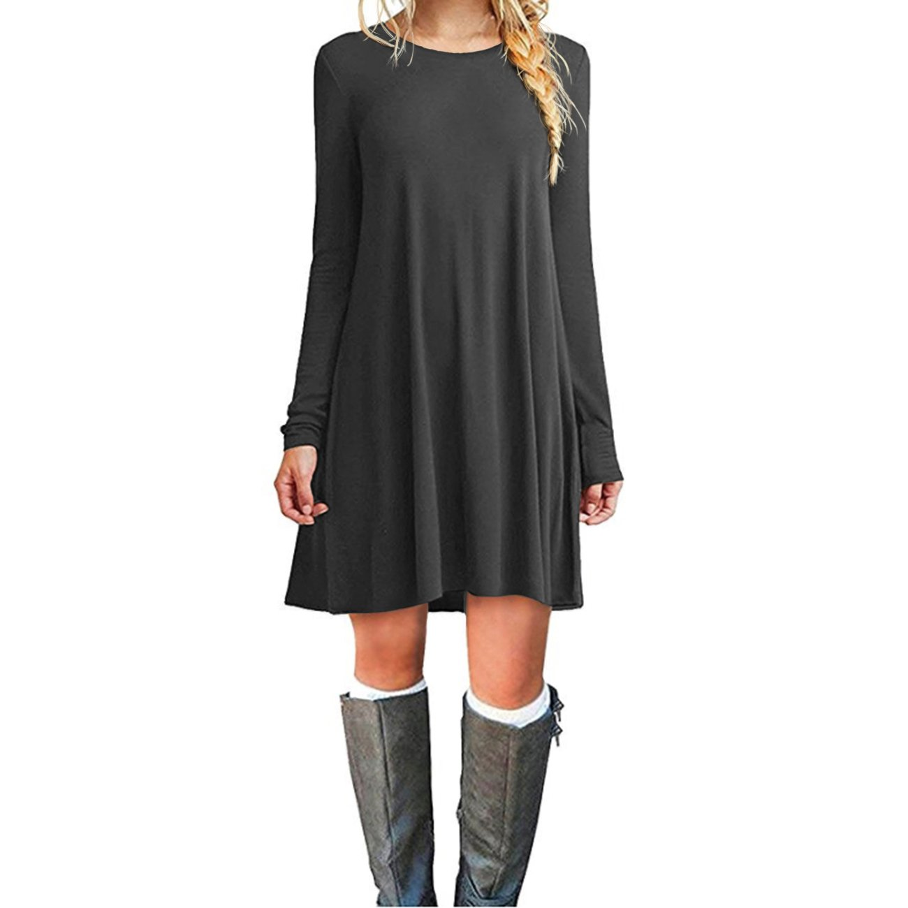 Cnokzol Women Long Sleeve Flowy Tunic Pockets Dress Plain Swing Loose T-Shirt Dress(S,Grey)