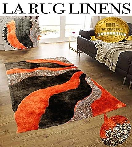 Home Shimmer Shag Two Tone Orange Brown Area Rug, Hand-Tufted, Hand Made ~8ft' x 10ft' ( Signature New L3 Orange - Tufted Zebra Rug