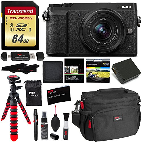 Cheap Panasonic GX85 4K Mirrorless Interchangeable Lens LUMIX Camera Kit With 12-32mm Lens, Polaroid Filter, Transcend 64 GB, Memory Card Wallet, Spare Battery, Ritz Gear Cleaning Kit & Accessory Bundle
