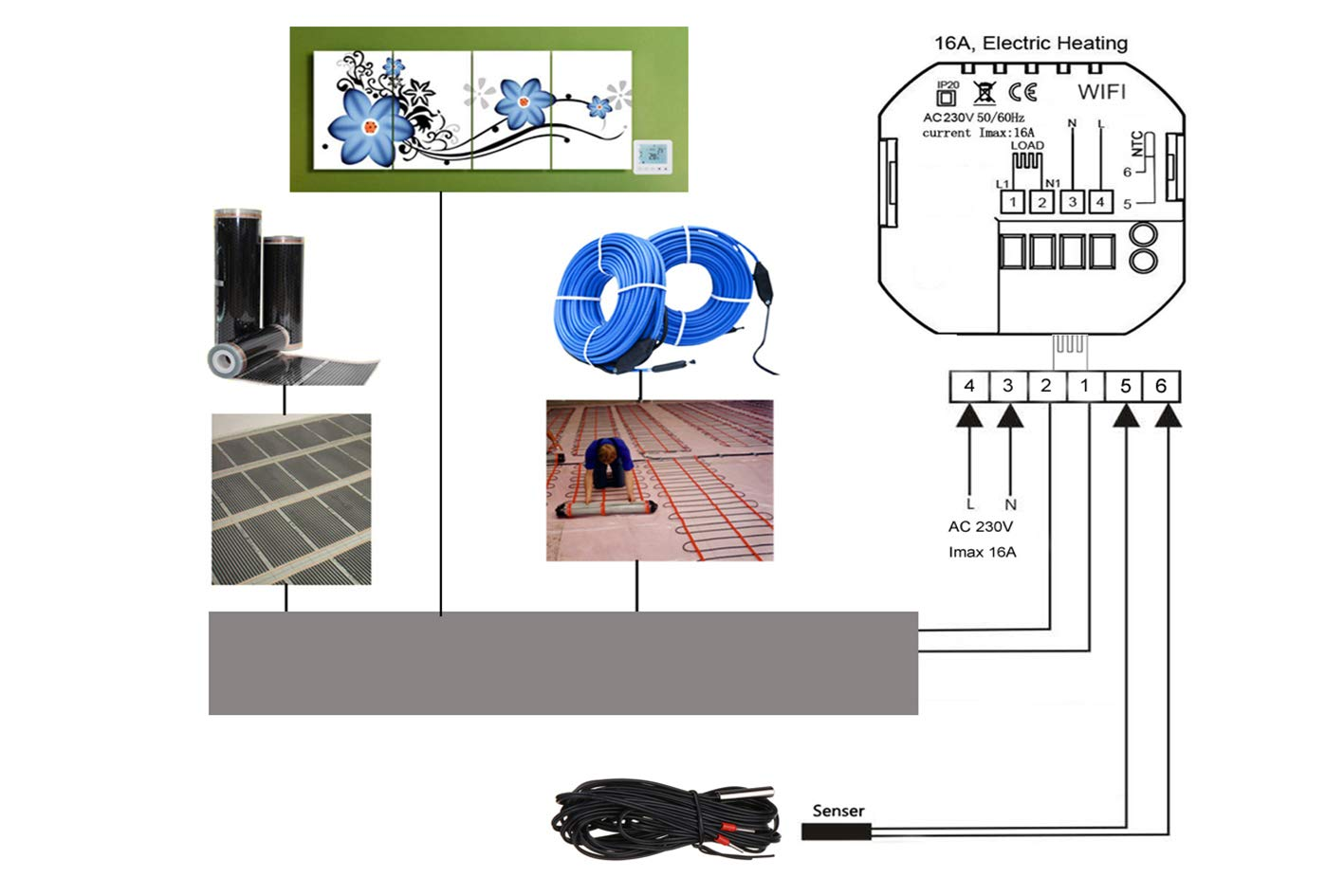Termostato Digital para Calefacción eléctrica estufa calefactor Wifi Compatible con arias Echo y Google Home pantalla LCD Touch 16 A 220 V: Amazon.es: ...