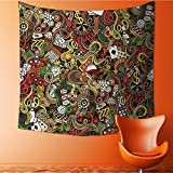 VROSELV Print Decorative Throw Fabric Tapestry Wall Hanging Doodles Style Bingo Excitement Checkers King Tambourine Vegas Bathroom Art Decor for Bedroom/51W x 51L INCH