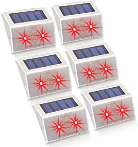 YINGHAO Solar Powered RED LED Predator Deterrent Light/Wild Animals Repellent and Control/Guards Against Nocturnal Wild Animals/Farm Garden Pasture Orchard Corral Chicken Coop Light/ 6 Pack