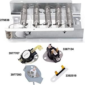 279838 Dryer Heating Element for Whirlpool Kenmore Maytag Dryer Heating Element Parts 3392519 3977393 Thermal Fuse & 3387134 3977767 Dryer Thermostat 279838 Replaces 8565582,AP309425