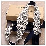 Yanstar Navy Bridal Belts For Wedding Gowns Handmade Silver Crystal Beads Sashes Belt For Bridal Dress