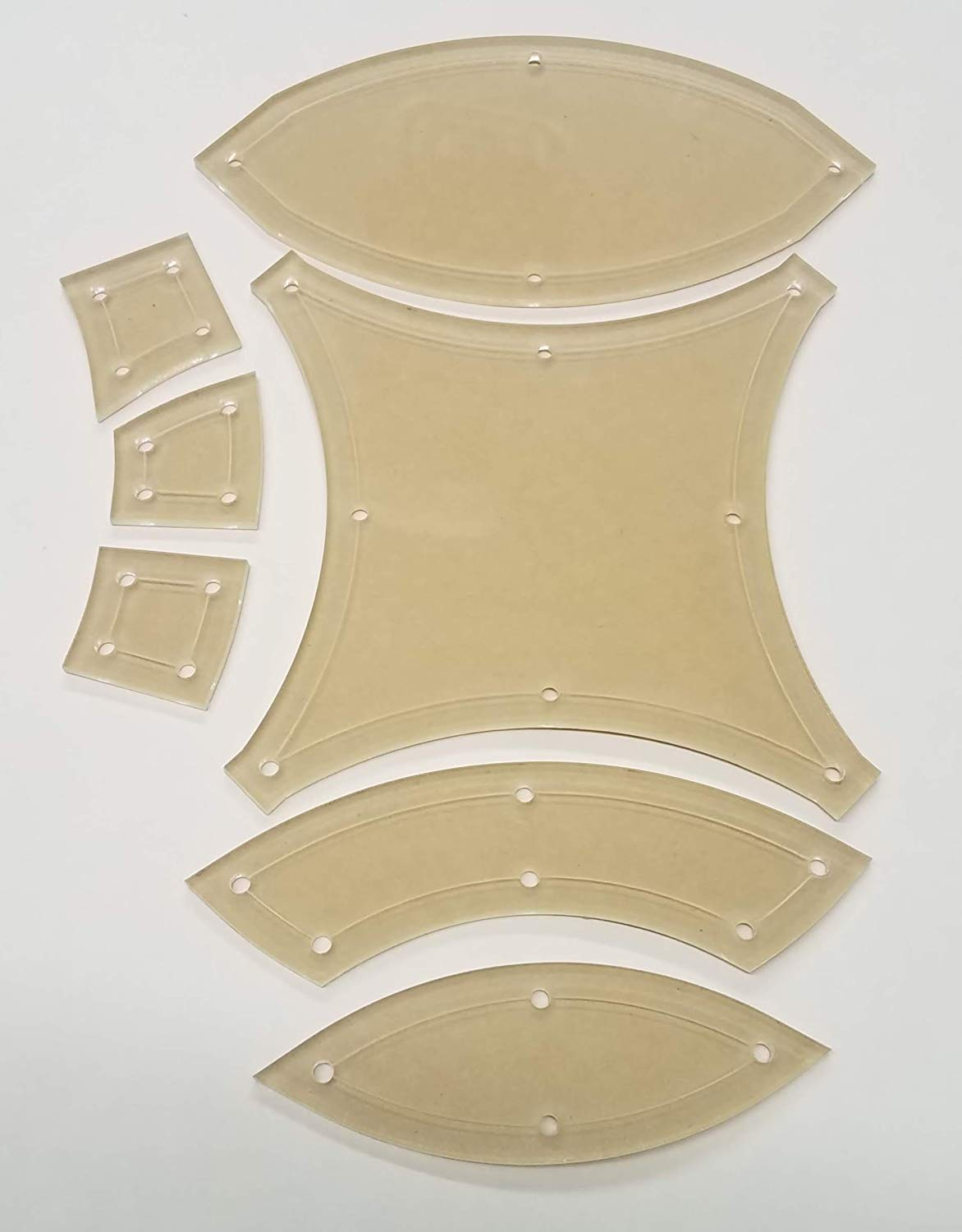 5'' Double Wedding Ring Acrylic Quilting Template Set, 1/4'' Seam Allowance - 7 Pieces - Tiny DWR by LaserThing