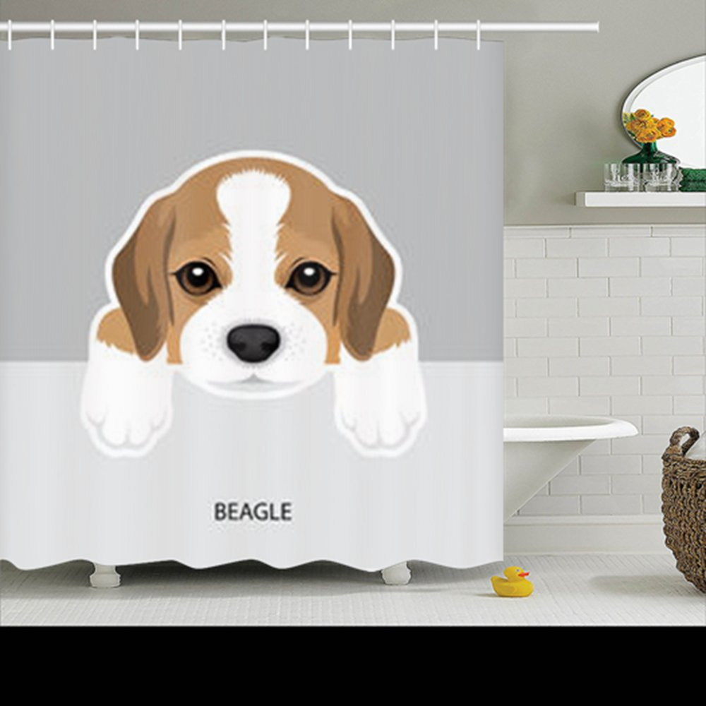 Family Decorative Shower Curtains Illustration Beagle Puppy Dog Sketch Waterproof Polyester Fabric Home Bathroom Decor Bath Curtain Size 72x72 Inches