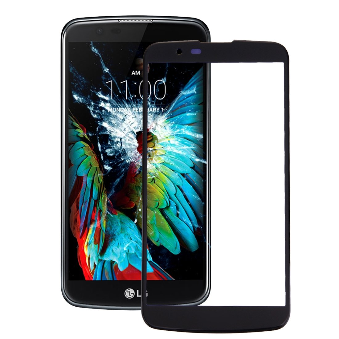 LG K10 frontal Screen Outer Glass (Negro) frontal Glass Incluye ...