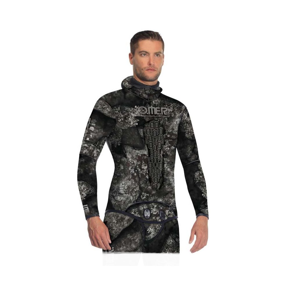 Omer Blackstone 7mm Men's Spearfishing Camo Wetsuit Jacket Camouflage Top (2XL) by Omer