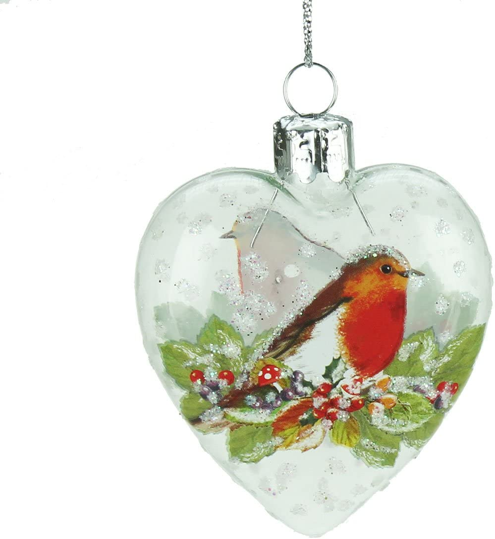 Hospice Remembrance Robin Christmas Glass Tree Decoration..