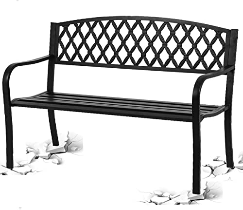 50″ Patio Garden Bench Outdoor Metal Bench Yard Furniture,400 lbs Cast Iron Cross Design Two Person Loveseats Chair Solid w/Curved Backrest Armrest| Lightweight | Easy Assembly |Front Porch