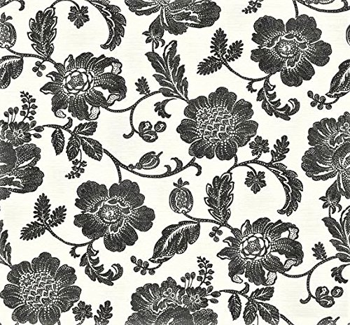 Wallpaper Designer Large Black Jacobean Floral Vine on Eggshell White