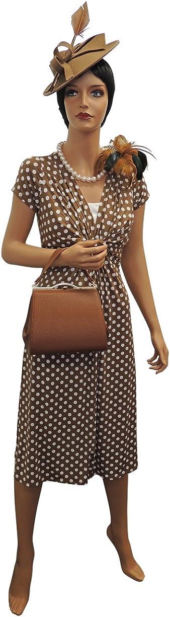 New Ladies Wartime Vintage Style WW2 Land Girl 1940s Polka Dot Tea Dress