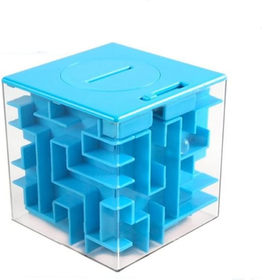 chaoxiner Novelty 3D Money Maze Bank Cube Puzzle Saving Coin Collection Case Box Brain Game Kids Toy Gift