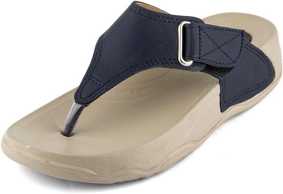 WELCOME Women's Dark Blue Leather Flip-Flops-4 UK/India (37 EU) (2BlueHF-13_4) Women's Flip-Flops & Slippers at amazon