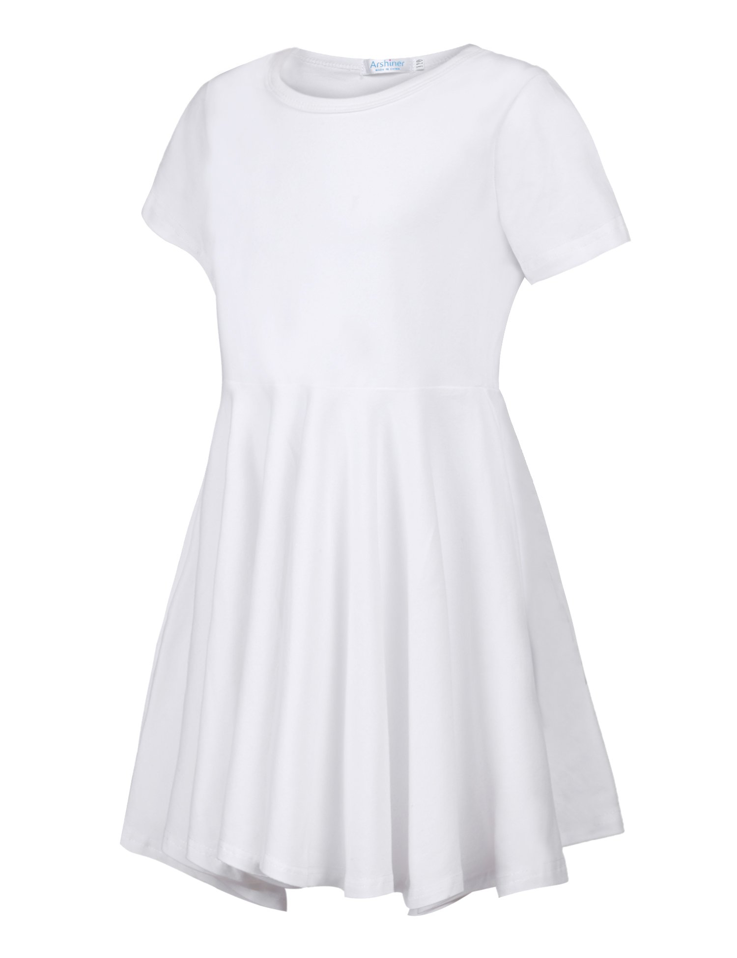 Arshiner Girls Short Sleeve Dress A Line Skater Swing Asymmetrical High Low Hem Casual Dress by Arshiner (Image #2)