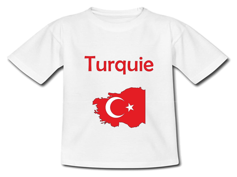 T-Shirt B/éb/é yonacrea Carte Turquie avec Son Drapeau
