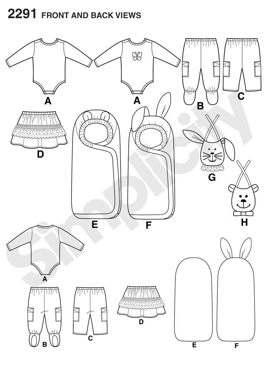 Simplicity 2291 - Patrones de costura para ropa de bebé /(tallas XXS ...