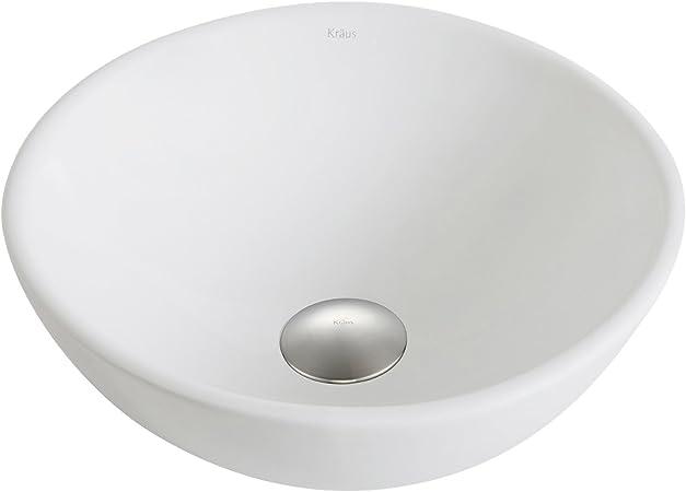 Kraus Kcv 341 Bn Elavo Bathroom Vessel Sink With Pop Up Drain Brushed Nickel White 13 7 Inch Tools Home Improvement Kitchen Bath Fixtures Fcteutonia05 De