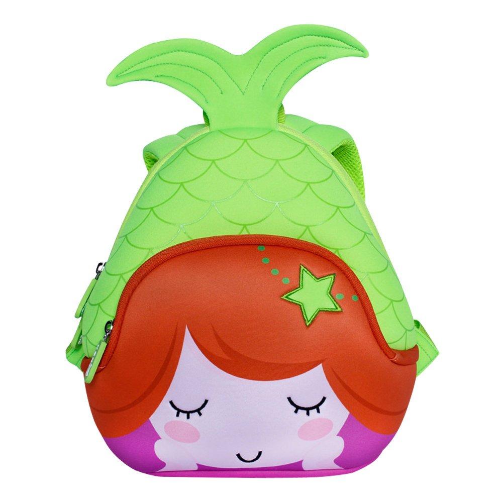 3D Mermaid Toddler Kids Backpack, LYCSIX66 Waterproof Neoprene Preschool Bag Travel Daypack for Baby Girl 3-6 Years, green