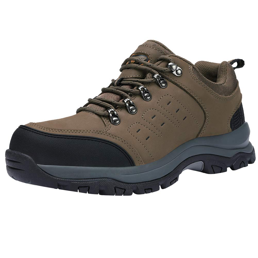 f424fcdd82ce CAMEL CROWN Mens Hiking Shoes Low Cut Boots Leather Walking Shoes for  Outdoor Trekking Training Casual Work(Size 9.5 US) Khaki/Black