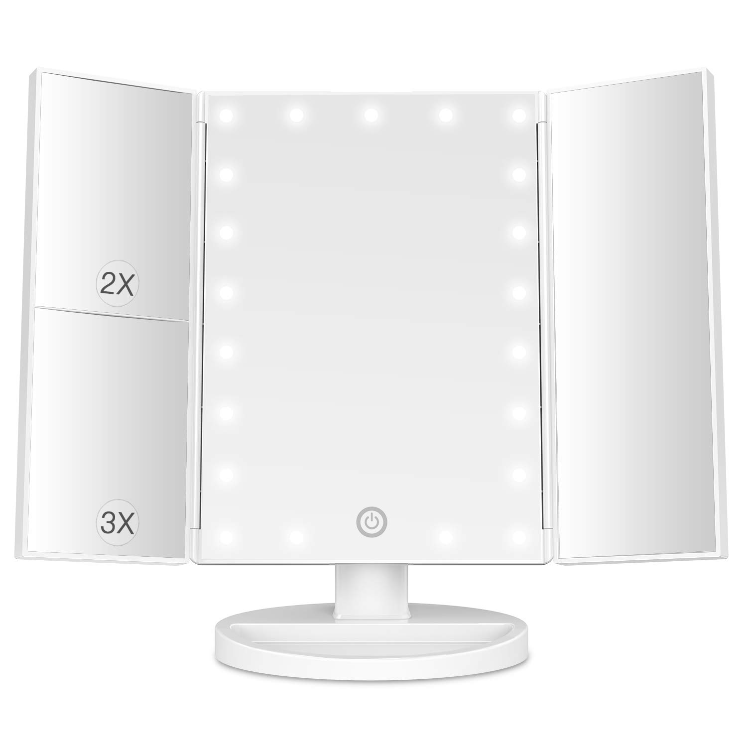 BESTOPE Makeup Mirror with Lights 21 Led Light Up Mirror with 2X/3X Magnification Vanity Mirror with Lights Touch Screen 180 Degree Rotation Dual Power Supply : Beauty