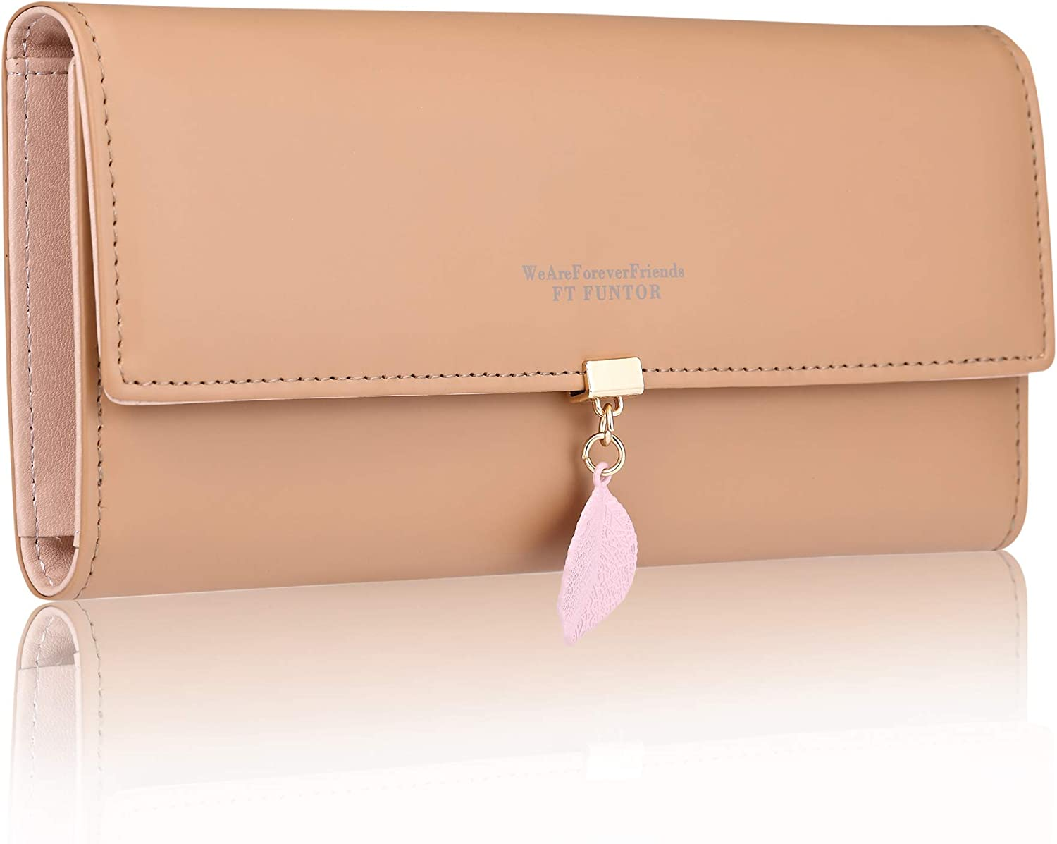 FT Funtor RFID Wallets for Women,Ladies Wallets with Zipper Pocket Trifold Wallets for Women with Leaf