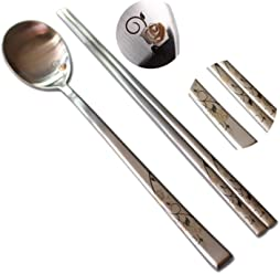 Korean Chopsticks /& Spoon 10Set High Quality Stainless Steel Practical Adorable