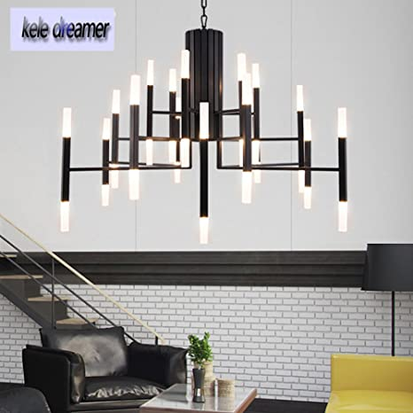 36 Light Industrial Branch Chandelier 40inches Black Metal Acrylic Pendant Lamp Ceiling For