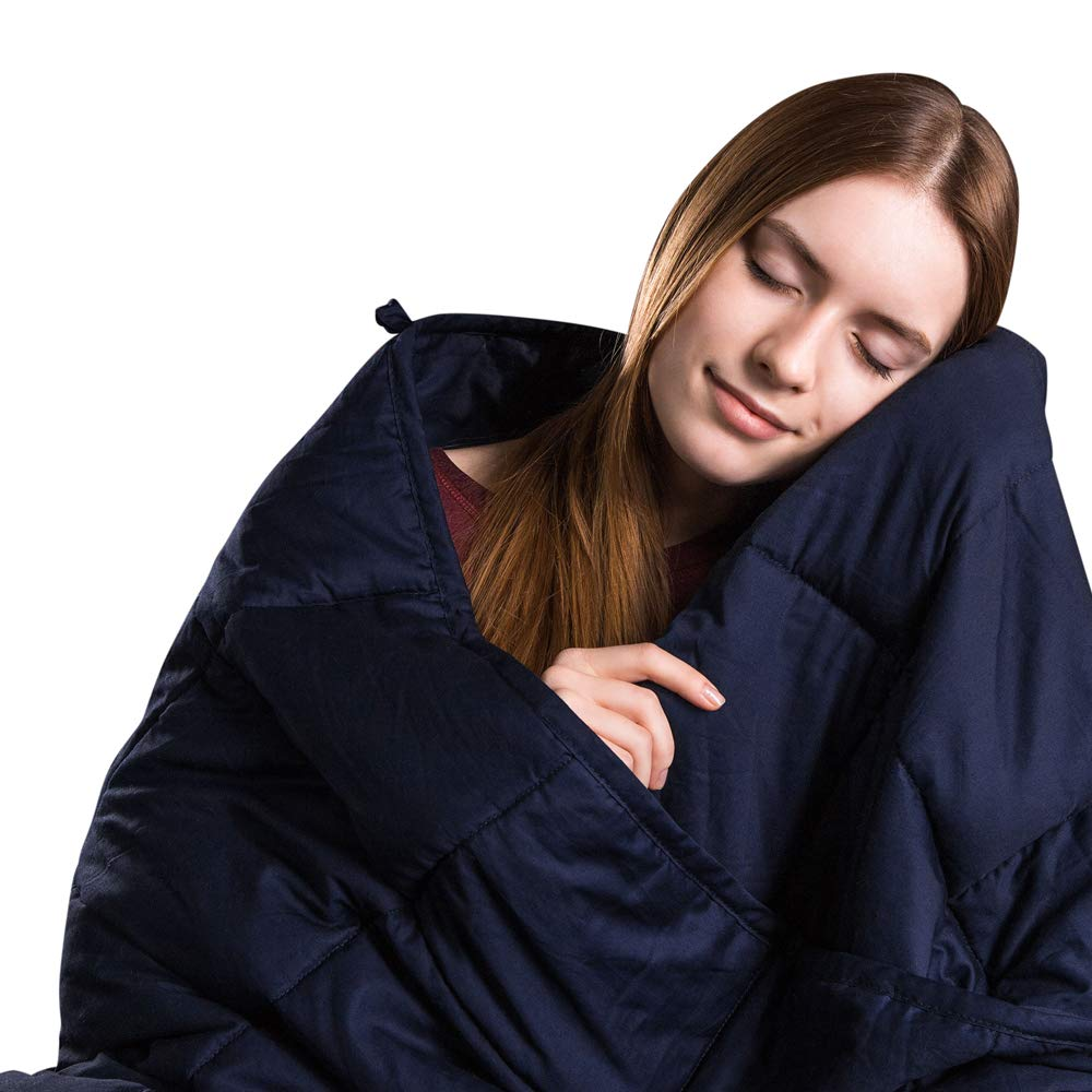 Class Cotton Weighted Blanket for Adult 60''X80'', 20 lbs, Queen Size, Navy Blue | Calming Blanket for Individual Between 140-190 lbs | Premium Cotton with Nontoxic Glass Beads, Heavy Blanket 3.0
