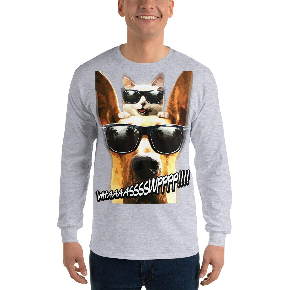 100/% Cotton Funny T-Shirt for Men Graphic Spicy Cold Apparel Whassup Long Sleeve T Shirt