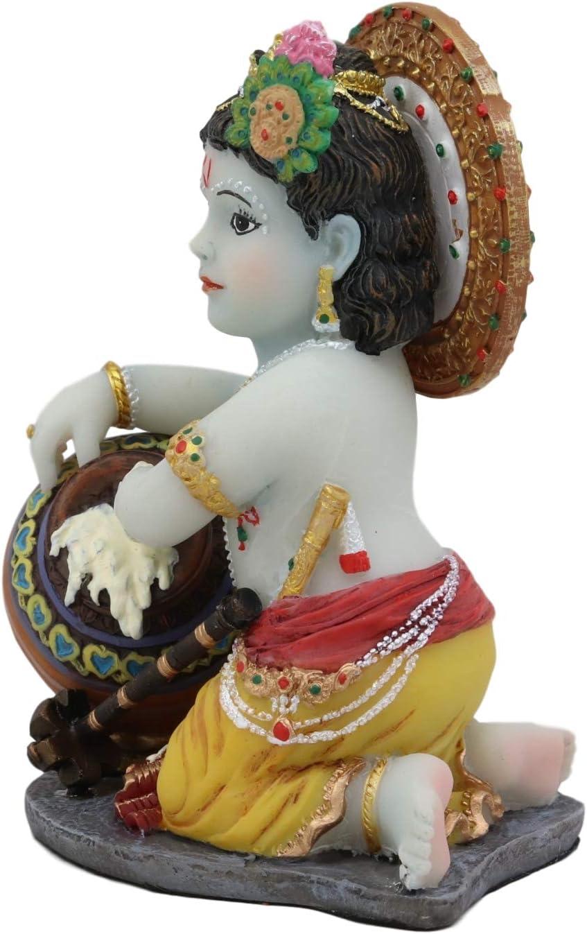 Ebros Hindu God Baby Krishna Vishnu Stealing Butter Yogurt and Milk from The Gopis Statue 4.25 High Eastern Enlightenment Hinduism Avatar Deity Gods Chitta Chora Stealer of Hearts
