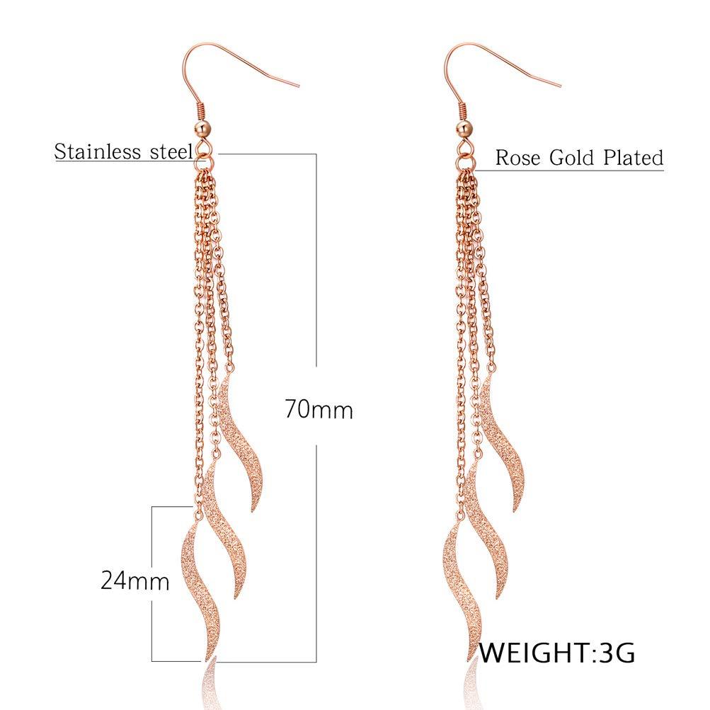 Wonlines Fashion Rose Gold Stainless Steel Wave Tassel Ear Line Dangle Earrings