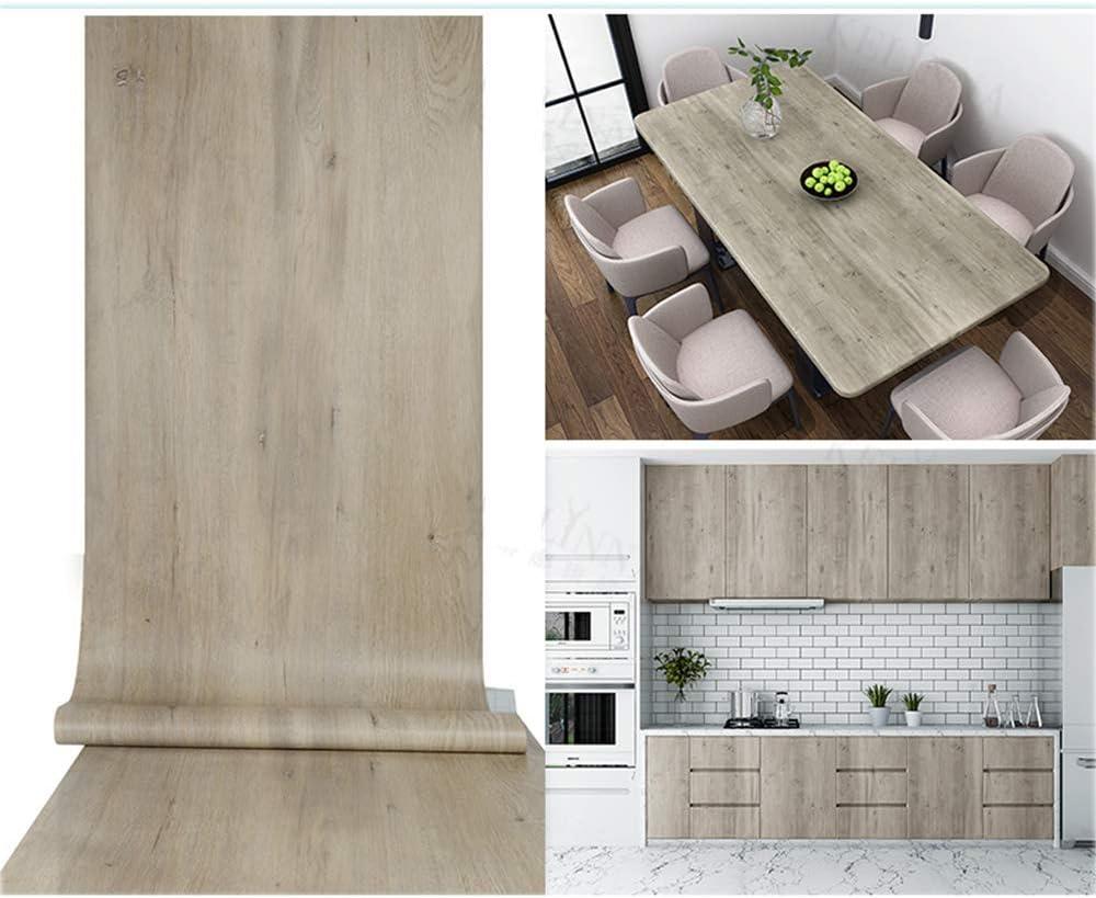 "TaoGift Self Adhesive Vinyl Light Grey Wood Shelf Liner Paper Furniture Sticker for Kitchen Cabinets Door Table Cupboard Desk Walls Carfts 15.7""x117"""