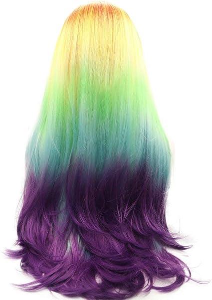 Peluca de sirena sintética de encaje frontal, pelucas para mujer, color naranja, amarillo, verde, azul, morado, arco iris, para mujer, 66 cm