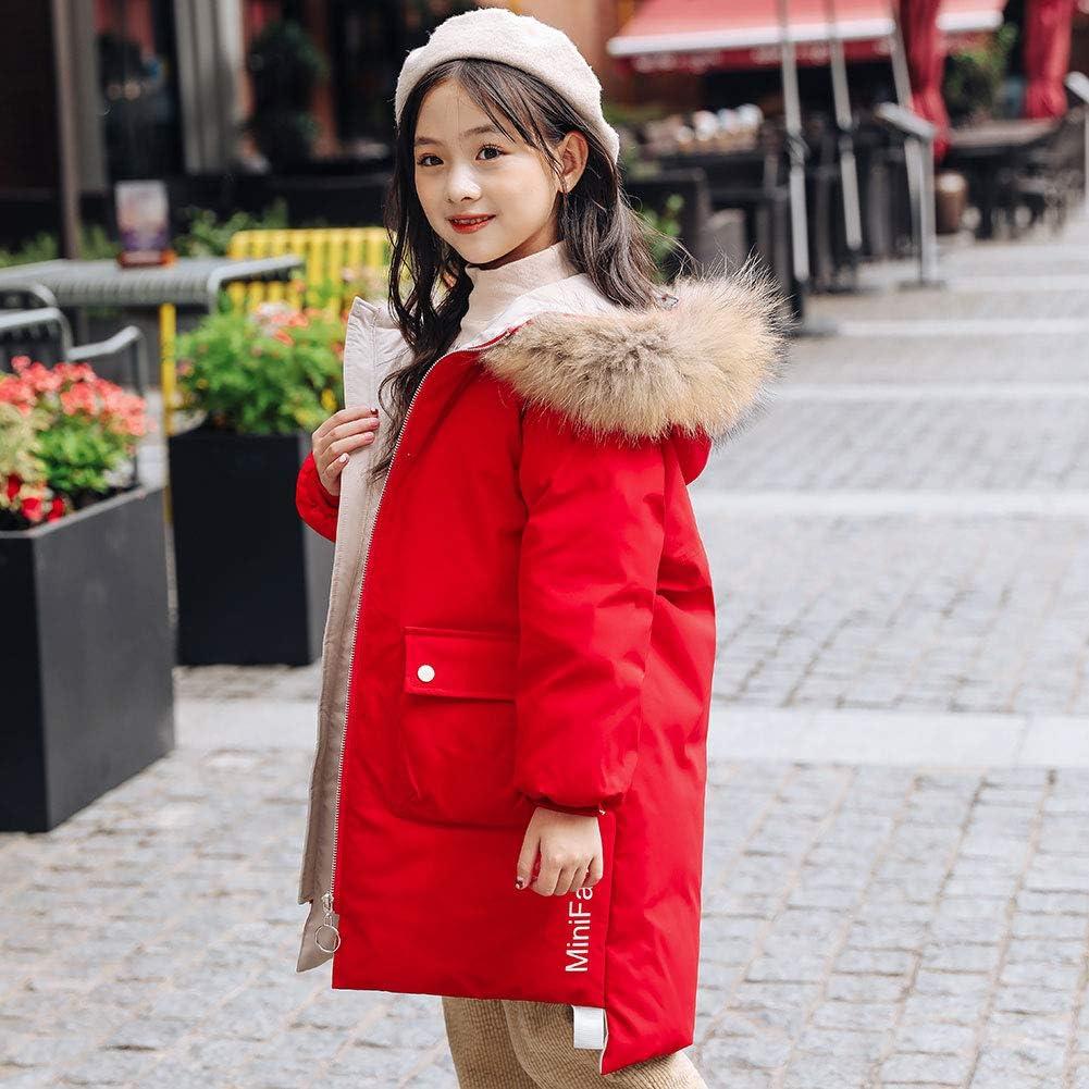 YFPICO M/ädchen Mode Winterjacke mit Echt Fell Kinder Warm Verdickte Daunenjacke Daunenjacke Wintermantel Parka