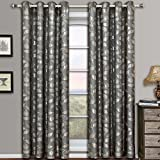 Charlotte Gray Grommet Jacquard Window Curtains Drapes, Pair / Set of 2 Panels, 52×96 inches Each, by Royal Hotel
