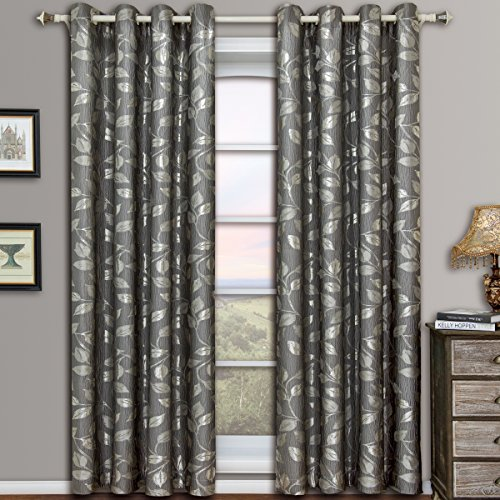 Charlotte Gray Grommet Jacquard Window Curtains Drapes, Pair / Set of 2 Panels, 52x84 inches Each, by Royal Hotel