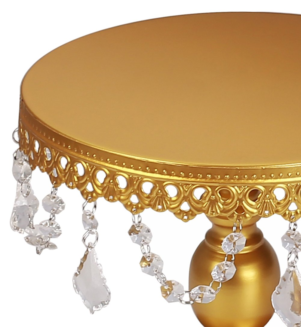 VILAVITA 3-Set Antique Cake Stand Round Cupcake Stands Metal Dessert Display with Pendants and Beads, Gold by VILAVITA (Image #6)